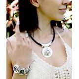 YUSHI Women's Bracelets SILVER&BLACK - Silvertone & Black Embossed Bracelet & Leather Pendant Necklace