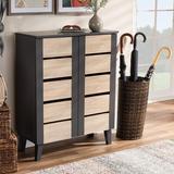 Wrought Studio™ 2-Door Wood Entryway 8 Pair Shoe Storage Cabinet Manufactured Wood in Brown/Gray, Size 37.4 H x 29.5 W x 13.0 D in | Wayfair