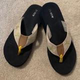 J. Crew Shoes | J Crew Beach Wedge Sandals Sz 78 | Color: Blue/White | Size: 7.5