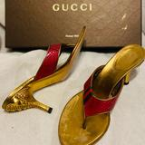 Gucci Shoes   Gucci Sandals Mules Thong Red Slippers Heels Pumps   Color: Gold/Red   Size: 7.5
