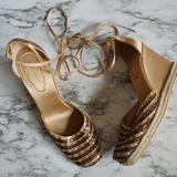 Nine West Shoes   Nine West Gold Espadrille Wedge Lace Up Heels   Color: Gold/Tan   Size: 8.5