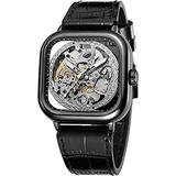 Luxury Watches for Men Automatic Stainless Steel Leather Watch Analog Luminous Fashion Punk Square Watch (Black Silver)