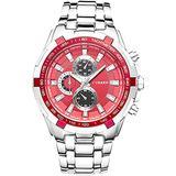 Quartz Wrist Watch for Men Waterproof Watch Fashion Stainless Steel Mens Analog Watch (Red)