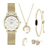 Girl Jewelry Set Women Quartz Watch Set Crystal Design Bracelet Necklace Ring Earrings Watch Sets Female Watch Lady's Wife Mom Gift The Book of Wishes (3201 Gold GN Box)