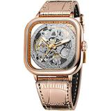 Luxury Watches for Men Automatic Stainless Steel Leather Watch Analog Luminous Fashion Punk Square Watch (Rose Gold)