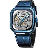 Luxury Watches for Men Automatic Stainless Steel Leather Watch Analog Luminous Fashion Punk Square Watch (Blue)