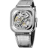Luxury Watches for Men Automatic Stainless Steel Leather Watch Analog Luminous Fashion Punk Square Watch (Silver)