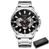 Il re del pagliaccio Causal Sport Chronograph Men's Watches Stainless Steel Band Wristwatch Big Dial Quartz Clock with Luminous Pointers (Silver Black Box)