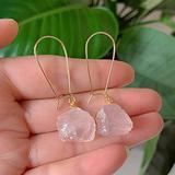 AOXQ Stone Mineral raw Stone Stone Crystal Earrings Natural Amethyst Lapis Fluorite Citrus Amazonite Pink Quartz Swing Earrings Healing-Rose Quartz