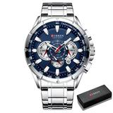 Il re del pagliaccio Causal Sport Chronograph Men's Watches Stainless Steel Band Wristwatch Big Dial Quartz Clock with Luminous Pointers (Silver Blue Box)
