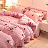 AMAFS Double Bedding Duvet Sets,Luxury Bedding Set 4pcs Flannel Plush Shaggy Anti-Allergic Duvet Cover Bed Sheet Fitted Pillowcase Set King Size Queen Happy House