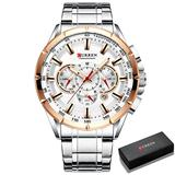 Il re del pagliaccio Causal Sport Chronograph Men's Watches Stainless Steel Band Wristwatch Big Dial Quartz Clock with Luminous Pointers (Silver Rose Box)