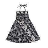 Shirred Mandala Dress Toddler Halterneck Spaghetti Strap Dress Baby Girl Pleated Dress Summer Clothes