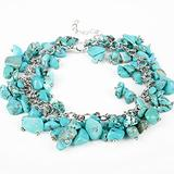 WUGDSQGH Bracelet for Women Blue Lady Charm Bracelet Unique Small Natural Stone Bracelet Handmade Boho Jewelry Gift