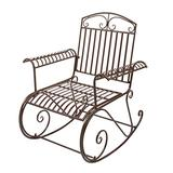 AMAFS Bent Armrest Single Rocking Chair Dark Brown, Stable & Sturdy Garden Iron Art Rocking Chair Family Chairs Outdoor Use