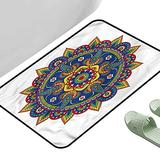 "Door Carpet Area Rugs Persian Round Motif Paisley 31.5"" x 19.5"" Rectangle Non-Slip Area Rug Pad"