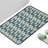 """Absorbent Mat Kitchen Rug Ivory and Blue Garden Art Style Bouquet of Ornate Flowers Illustration Ivory Dark Blue and Slate Blue 47"""" x 35"""" Rectangle Rugs for Bedroom"""