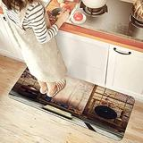 GUKISALA85 Kitchen Mat Japanese Style Shabby Chic Flowers French Sash Tea Table Comfort Non-Slip Doormat Area Rug for Floor Home Office Sink Laundry