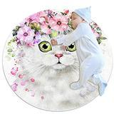 Round Kids Rug Round Carpet Circular Rug Round Floor mat Machine Washable Rug Persian Cat Wearing A Wreath 31.5x31.5IN