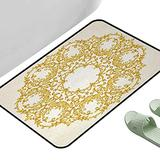 """Long Kitchen Mat Bath Carpet Victorian Traditional Gold Floral Round Circle with Baroque Elements Turkish Ottoman Style Art Cream 47"""" x 35"""" Rectangle Office Floor mats"""