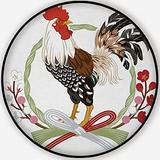 Rooster with Japanese Grass Wreath Decoration,Round Rug Carpet/Rug Non-Slip Backing Round Area Rug Bedroom Study Children Playroom Carpet Floor Mat 5'Round
