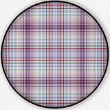 White-Pink-Violet-Blue Checkered,Round Rug Non-Slip Backing Round Area Rug Living Room Bedroom Study Children Playroom Carpet Floor Mat 6'Round