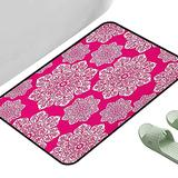"""Kitchen Mat for Living Room Hot Pink White Floral Design Ornate Inspired Round Motifs Traditional Pattern Hot Pink White 23.5"""" x 15.5"""" Rectangle Carpet Flooring"""