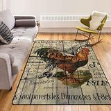 French Barn Wood Rooster Western Country Farm Rooster Throw Rug Cozy Area Carpet Room Rectangle Carpet Home Decor Floor Rug Non-Slip Carpet 63X48 Inch