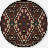 Traditional Tribal on The Wool Knitted,Round Rug Non-Slip Backing Round Area Rug Living Room Bedroom Study Children Playroom Carpet Floor Mat 6'Round