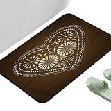 """Entrance Modern Area Rugs Chocolate Romantic Heart Motif 47"""" x 23"""" Rectangle Modern Area Rug with Non-Skid"""