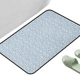 """Floor Rug Non-Slip Mat Ivory and Blue Illustration of Spring Flowers Foliage Flourishing Nature Design Pale Blue and Ivory 47"""" x 23"""" Rectangle Bath Rugs for Bathroom"""