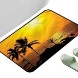 "Porch Doormats Tropical Palm Trees Sunset 23.5"" x 15.5"" Rectangle Custom Floor mats"