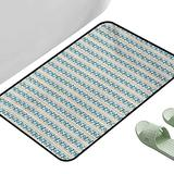 """Floor Entrance Rug Ivory and Blue Romantic Roses with Retro Stripped Background Vertical Illustration Ivory Blue Green 47"""" x 31"""" Rectangle Natural Fiber Area Rug"""