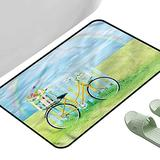"""Entrance Modern Area Rugs Bicycle Nostalgic Bike on Grass 31.5"""" x 19.5"""" Rectangle Modern Area Rug with Non-Skid"""