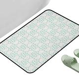 """Indoor Kitchen Room Floor Rug Ivory and Blue Monochrome Stars and Lattice Design Inspired Pattern Floral Shapes Pale Blue and Ivory 47"""" x 23"""" Rectangle Bath Rugs for Bathroom Non Slip"""
