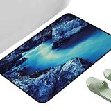 """Entrance Modern Area Rugs Waterfall Frozen Dangerous Lake with Atmosphere of a Cave and Snow on The Rocks Nature Blue and Black 47"""" x 23"""" Rectangle Modern Area Rug with Non-Skid"""