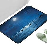 """Entrance Modern Area Rugs Ocean Dramatic Photo of A Nighttime Sky Full Moon Over A Calm Ocean Scene in Maui Hawaii Navy White 39"""" x 29"""" Rectangle Modern Area Rug with Non-Skid"""