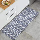 LZCsjhn Kitchen Rug,Arabesque Floral Oriental Persian Afghan Medieval Baroque Tiles ShapesThick Non Slip Waterproof Heavy Duty Mat for Kitchen 17.7x47.2 inches