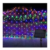 Solar Net Lights Outdoor Mesh Lights, 8 Modes of Remote Control, LED String Wrap Lights String Decorative Lights for Christmas Trees Bushes Wedding Garden Decoration