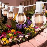 25Ft LED String Lights, G40 Outdoor Patio String Lights with 27 Shatterproof LED Clear Globe Bulbs, Indoor&Outdoor String Lights for Patio Garden Backyard Bistro Pergola Tents Gazebo Decor, White