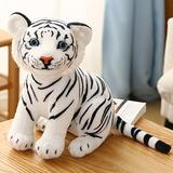 Cute lifelike tiger fluffy stuffed animals white tiger plush toy small size real-life wild animals kids toy gift for boy 26 cm