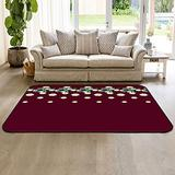 HomeDecorArt Non Slip Indoor Throw Rugs Floor Accent Carpet, Zebra Animal and Tropical Leaves Low Pile Rug, Large Area Floor Mat for Living Room Bedroom 2' x 3' Daisy Prints Rose Red Texture
