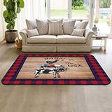 Non Slip Indoor Throw Rugs Floor Accent Carpet, Barn in The USA Cow Rooster Pig Farm Animal on Wooden Grain Red Blue Checkered Low Pile Rug, Large Area Floor Mat for Living Room Bedroom 5' x 7'
