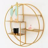 ZCME-power Shelves for Wall Storage,Floating Shelves,Round Wrought Iron Solid Wood,Wall Mounted Shelves for Bedroom, Bathroom, Living Room, Kitchen,Gold-60X60CM