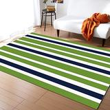 Trendychic Area Rugs Indoor Accent Carpets Rugs, White Green Navy Blue Stripes Rectangle Non Slip Floor Rug for Living Room Kids Room Bedside, 5'x8'