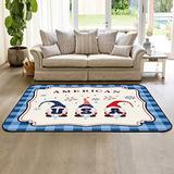HomeDecorArt Non Slip Indoor Throw Rugs Floor Accent Carpet, American Gnomes Firework Celebration Independence Day Blue Checkered Low Pile Rug, Large Area Floor Mat for Living Room Bedroom 2.7' x 5'