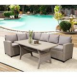 LASBAK PE Rattan Wicker Talk Cover, Patio Furniture Cover, Outdoor Patio Dining Table Cover, All-Weather Modular Sofa, with Table and Upholstery (Brown)