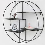 ZCME-power Shelves for Wall Storage,Floating Shelves,Round Wrought Iron Solid Wood,Wall Mounted Shelves for Bedroom, Bathroom, Living Room, Kitchen,Black-50X50CM