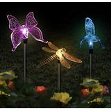 PrettyMoon Solar Decorative lamp Plastic Butterfly/Dragonfly/Hummingbird Pack Solar Stake Light, Color Changing Solar Powered Decorative Landscape Lighting
