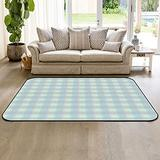 HomeDecorArt Non Slip Indoor Throw Rugs Floor Accent Carpet, Green Blue Checkered Low Pile Rug, Large Area Floor Mat for Living Room Bedroom 4' x 6' Simple Geometry Texture